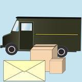 交付和岗位服务、信封和箱子 库存图片