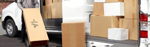 交付有箱子的邮差手 免版税图库摄影