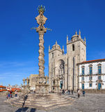 亦称上颈手枷在大教堂广场Terreiro da Se 图库摄影