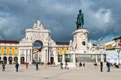 亦称商务正方形宫殿围场在里斯本,葡萄牙 图库摄影