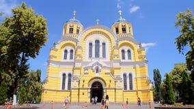 亦称弗拉基米尔大教堂Volodymyrsky大教堂在基辅,乌克兰, 股票视频