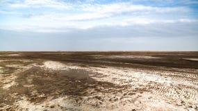 亦称盐湖日落的Karum湖Assale或Asale,在远处Danakil,埃塞俄比亚 库存照片
