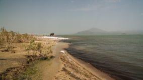 亦称盐湖Afrera湖Afdera或Giulietti或者Egogi,在远处Danakil,埃塞俄比亚 图库摄影