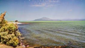 亦称盐湖Afrera湖Afdera或Giulietti或者Egogi,在远处Danakil,埃塞俄比亚 免版税库存照片