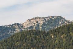 亦称Kehlsteinhaus Eagle& x27; s在与森林的一座岩石小山山筑巢 库存照片