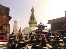亦称Swayambhunath猴子寺庙加德满都尼泊尔 免版税库存照片
