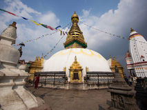 亦称Swayambhunath Stupa猴子寺庙在加德满都 免版税图库摄影