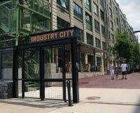 产业城市标志 免版税库存图片