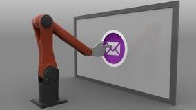 产业机器人胳膊推挤送邮件按钮 垃圾短信或时事通讯概念 3d翻译 免版税图库摄影