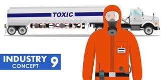 产业概念 储水池卡车运载的化学制品,放射性,毒性,危害物质和工作者的详细的例证  皇族释放例证
