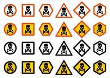 产业概念 套不同的警报信号:化学制品,放射性,危险,毒性,毒危险 与skul的危险标志 库存例证