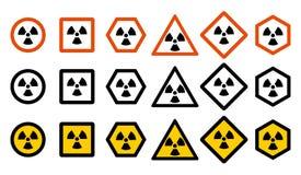 产业概念 套您的网站设计的,商标, app, UI不同的辐射危害标志 放射性核 库存例证
