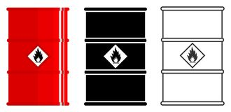 产业概念 套放射性,毒性,危害,危险,易爆,易燃的不同的桶和 皇族释放例证