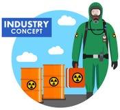 产业概念 工作者的详细的例证防护套服的在桶背景与化学制品的,放射性 向量例证