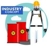 产业概念 工作者的详细的例证防护套服的在桶背景与化学制品的,放射性 库存例证