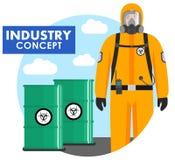 产业概念 工作者的详细的例证防护套服的在桶背景与化学制品,放射性,毒性, h的 库存例证