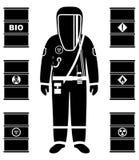 产业概念 工作者黑剪影防护套服的 金属化油的,生物燃料,炸药,化学制品桶 库存例证