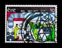 产业背景, BSL 1927-1977 ESB,金黄周年纪念serie,大约1977年 库存图片