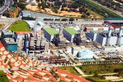 产业能源厂鸟瞰图  巴塞罗那 免版税库存照片