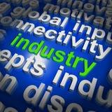 产业词云彩显示工业工作场所或制造业 免版税库存照片