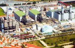 产业从直升机的能源厂鸟瞰图  免版税库存图片