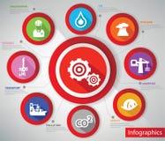 产业Infographics,五颜六色的版本 库存照片