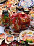 产品在Sorochintsy公平的村庄Dikanka P的彼得里科夫绘画 库存照片