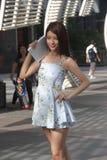 产品显示模型在深圳nanshan中心市 免版税图库摄影