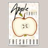 产品的一个美好的标签用苹果是长方形形状 农产品,果子的一个贴纸,商店的, bann一张海报 皇族释放例证