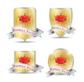 产品的(番茄酱,调味汁)标签 免版税图库摄影