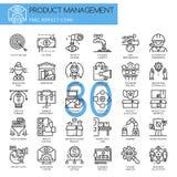 产品管理,稀薄的线被设置的象 库存例证