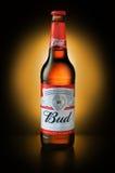 产品被射击百威啤酒瓶 免版税库存图片