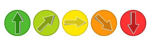 产品评估系统-从绿色的5个箭头按钮到红传染媒介Illsutration 向量例证