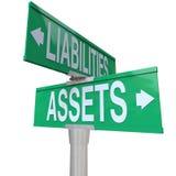 财产对责任双向路路牌认为 免版税库存照片