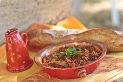 产小羊米炖煮的食物 免版税库存图片
