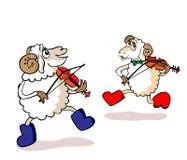 产小羊音乐家 库存照片