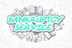 破产服务-动画片绿色文本 到达天空的企业概念金黄回归键所有权 向量例证