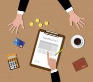 破产概念剪贴板金币咖啡信用卡 免版税图库摄影