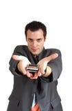 产生人提供的年轻人的移动电话 免版税库存图片