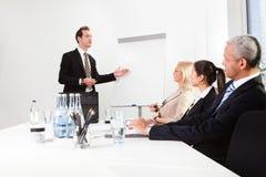 产生介绍的生意人 库存图片