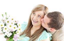 产生他的人的花束有同情心的女朋友 图库摄影