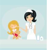 产生女孩核对的医生 免版税库存照片