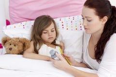 产生她的医学母亲的咳嗽女儿 库存照片