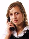 产生电话年轻人的女实业家购买权 免版税库存照片