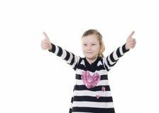 产生符号赞许年轻人的女孩 图库摄影