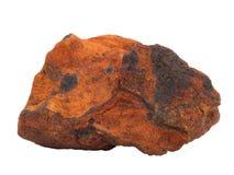 产铁的砂岩铁矿自然样品在白色背景的 库存照片