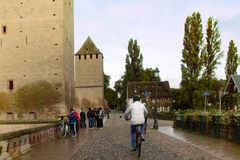 亨利塔史特拉斯堡 骑自行车者和步行者 图库摄影