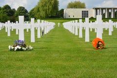 亨利Chapelle,比利时- 2017年5月31日:美国军用公墓和纪念品 图库摄影