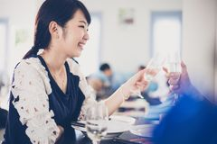 享受一个浪漫晚餐晚上的亚洲年轻夫妇喝wh 免版税库存图片