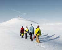 享受一个美好的冬天早晨Concep的小组挡雪板 库存图片